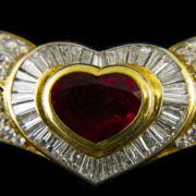 Rubin és gyémánt köves szív alakú ékszergarnitúra