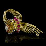 Arany bross rubin zafír és gyémánt kövekkel