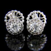 Fehérarany fülbevaló pár briliáns csiszolású gyémánt kövekkel