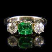 Alliance fazonú smaragd és gyémánt köves fehérarany gyűrű