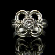Szoliter fazonú gyémánt köves fehérarany gyűrű