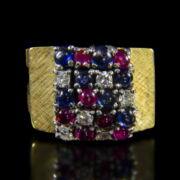 Gyűrű zafírokkal, rubinokkal és gyémántkövekkel
