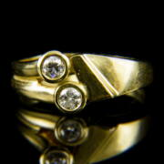 14 karátos kétköves sárgaarany gyűrű gyémántokkal