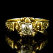 18 karátos szoliter gyűrű régi csiszolású gyémánt kővel (0.54 ct)