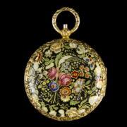 Biedermeier virágcsokros zománcfestett arany függőóra