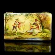 Ezüst szelence zománc festett  romantikus jelenettel