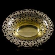 Olasz áttört peremű ovális ezüst kínálótál