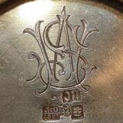 Orosz ezüst cukortartó rekeszzománc díszítéssel