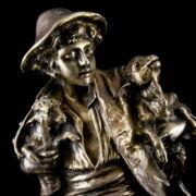 Ezüst birkapásztor fiú szobra A. Gaudez jelzéssel márvány talapzaton