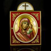 Mária karján a kisded Jézussal Faberge stílusú asztai ikon