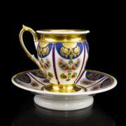 Biedermeier stílusú csésze és alj