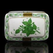Herendi porcelán zöld Apponyi mintás fedeles dobozka