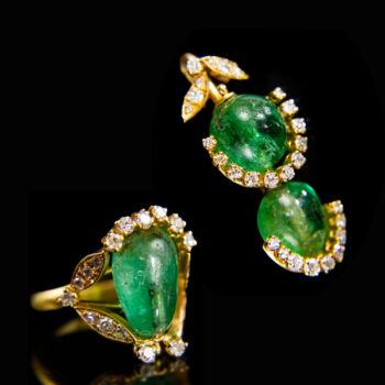 Arany gyűrű és medál cabochon smaragd és gyémát kövekkel