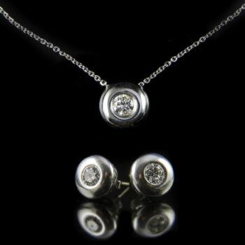 Fehérarany gyémánt köves bouton ékszergarnitúra