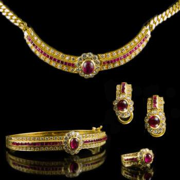 Rubin-brill köves arany ékszergarnitúra