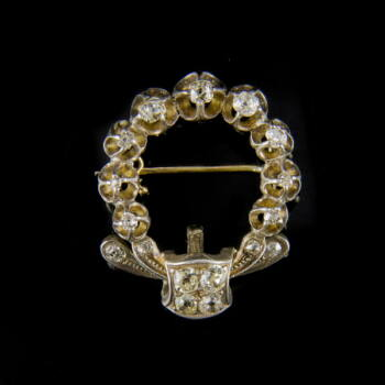 Antik ezüst koszorú alakú bross régi csiszolású gyémántokkal