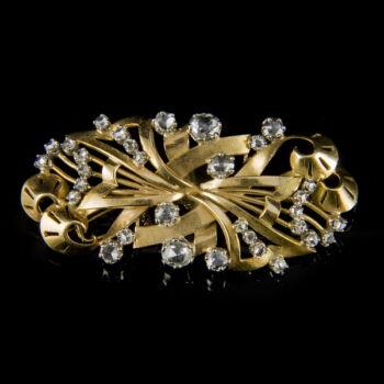 Arany bross hollandirózsa-csiszolású gyémánt kövekkel
