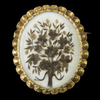 Arany keretes biedermeier bross virágcsokorral