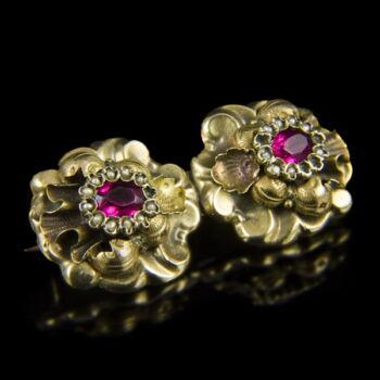 Biedermeier arany bross üveg kővel és gyöngyökkel