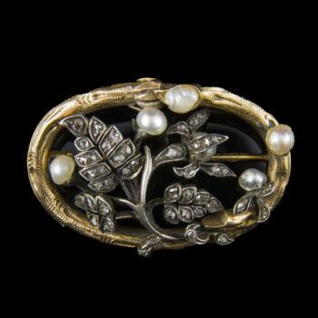Biedermeier bross gyémánt kövekkel