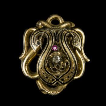 Biedermeier bross szintetikus rubinnal és gyémánt kővel