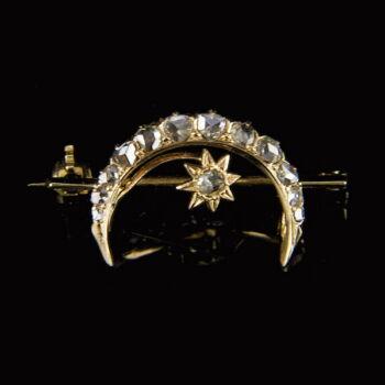 Félhold és csillag alakú arany bross gyémántokkal