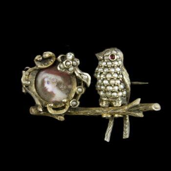 Mini portréképes madárkás ezüst kitűző