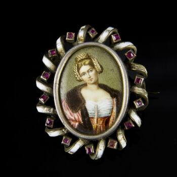 Portréképes bross zománcozott ezüst keretben