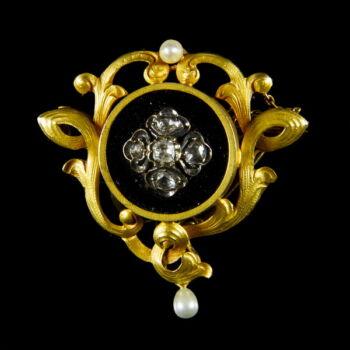 Szecessziós ónix - gyémánt rozettás arany melltű