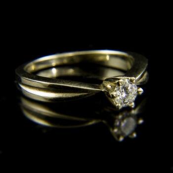 14 karátos fehérarany eljegyzési gyűrű briliáns csiszolású gyémánt kővel (0.27 ct)