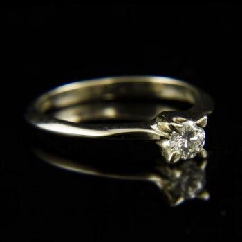 14 karátos fehérarany eljegyzési gyűrű gyémánt kővel (0.28 ct)