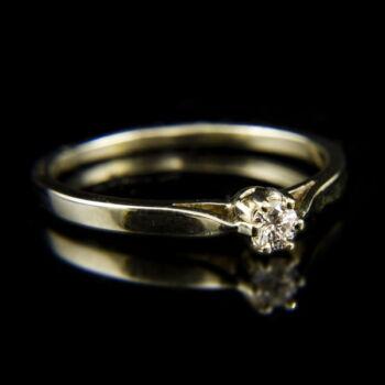 14 karátos fehérarany eljegyzési gyűrű hatkarmos foglalatban briliáns csiszolású gyémánt kővel (0.10 ct)