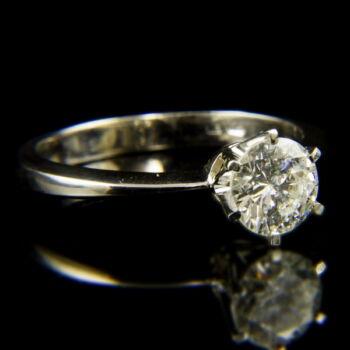 14 karátos fehérarany szoliter gyűrű briliáns csiszolású gyémánt kővel (0.99 ct)