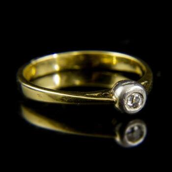 14 karátos sárgaarany szoliter gyűrű bouton foglalatban gyémánt kővel