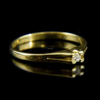 14 karátos sárgaarany szoliter gyűrű briliáns csiszolású gyémánt kővel (0.05 ct)
