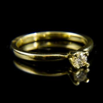 14 karátos sárgaarany szoliter gyűrű briliáns csiszolású gyémánt kővel (0.18 ct)