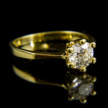 14 karátos sárgaarany szoliter gyűrű briliáns csiszolású gyémánt kővel (1.02 ct)