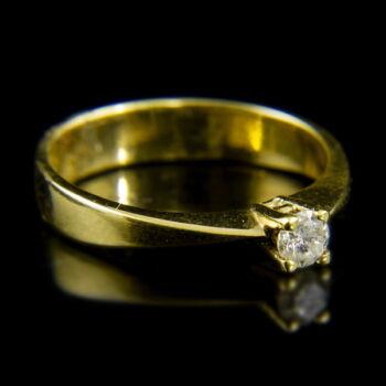 14 karátos sárgaarany szoliter gyűrű briliáns csiszolású gyémánttal (0.18 ct)
