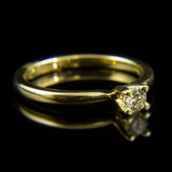 14 karátos sárgaarany eljegyzési gyűrű négykarmos foglalatban briliáns csiszolású gyémánt kővel (0.20 ct)