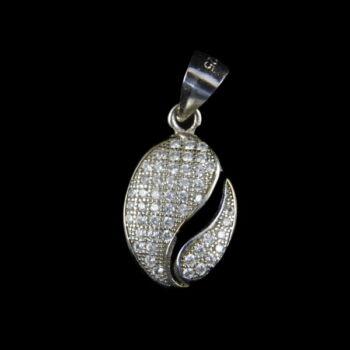 Üveg köves ezüst medál