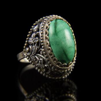 Ezüst gyűrű cabochon malachit kővel