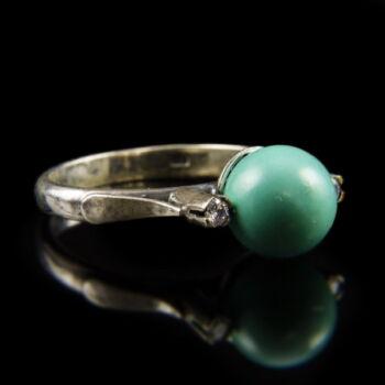 Ezüst gyűrű türkiz gyönggyel cirkon kövekkel