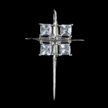 Ezüst kereszt medál üveg kövekkel