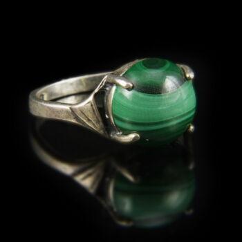 Ezüst malachit gyűrű