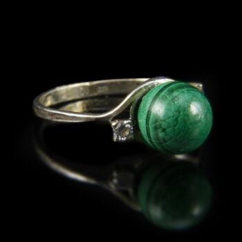 Malachit köves ezüst gyűrű cirkóniával