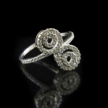 Sterling ezüst gyűrű dupla karikás gyűrűfejjel