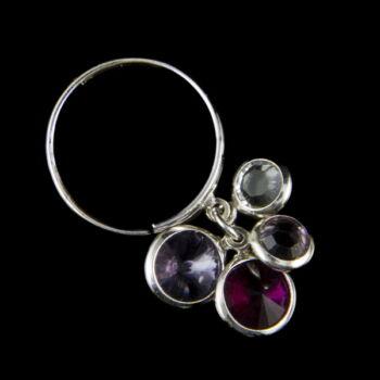 Sterling ezüst gyűrű színes üveg zsuzsukkal