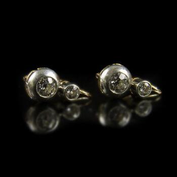 Fülbevaló pár bouton foglalatban régi csiszolású gyémántokkal
