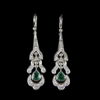 Fehérarany smaragd gyémánt fülbevaló