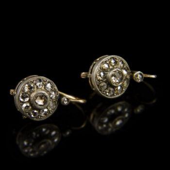 Rozetta fazonú arany fülbevaló pár gyémántokkal